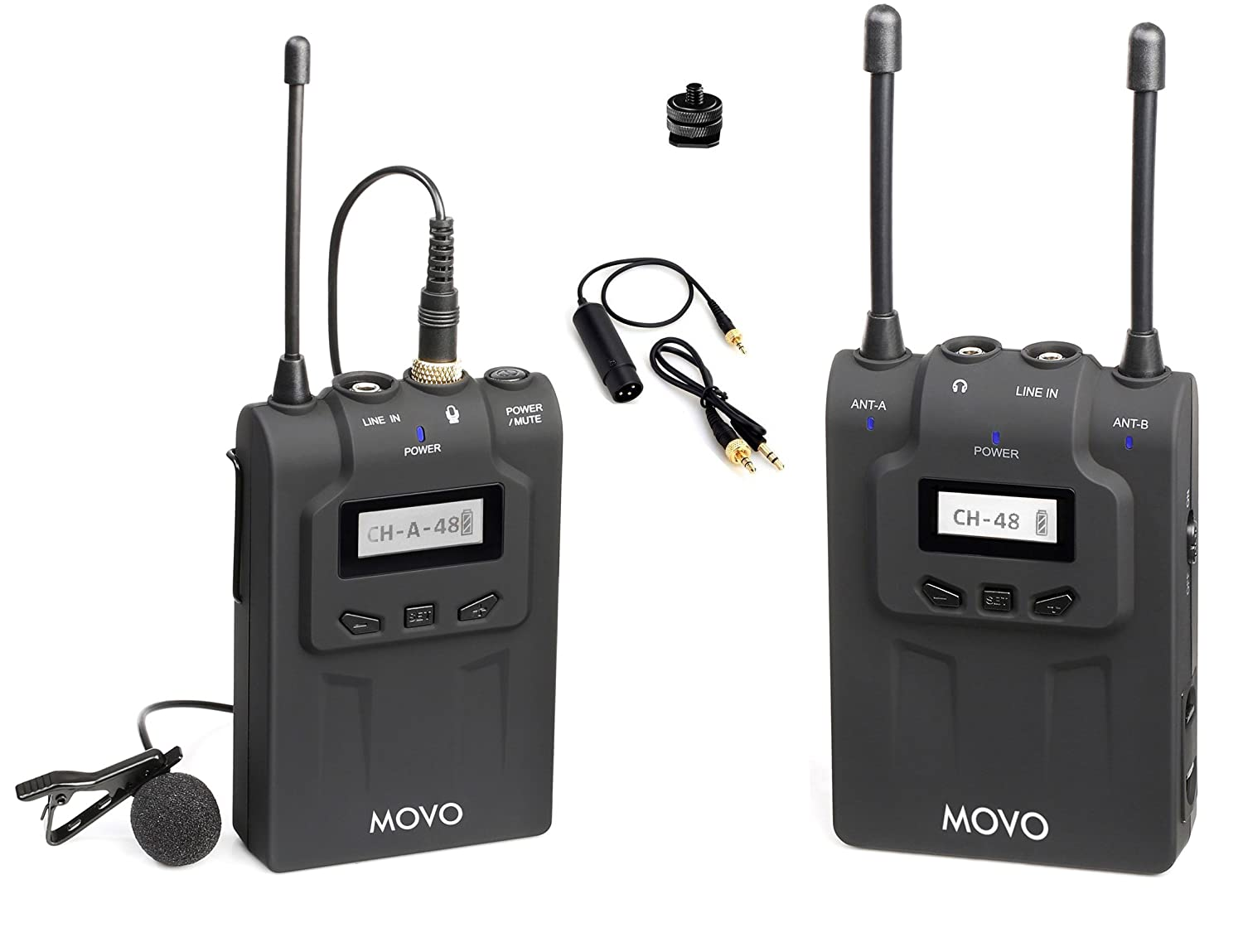 Movo WMIC80 UHF Expandable Wireless Lavalier Microphone System with Lavalier Mic & Bodypack Transmitter, Portable Receiver, Shoe Mount for DSLR Cameras (330' Range) WMIC80TR
