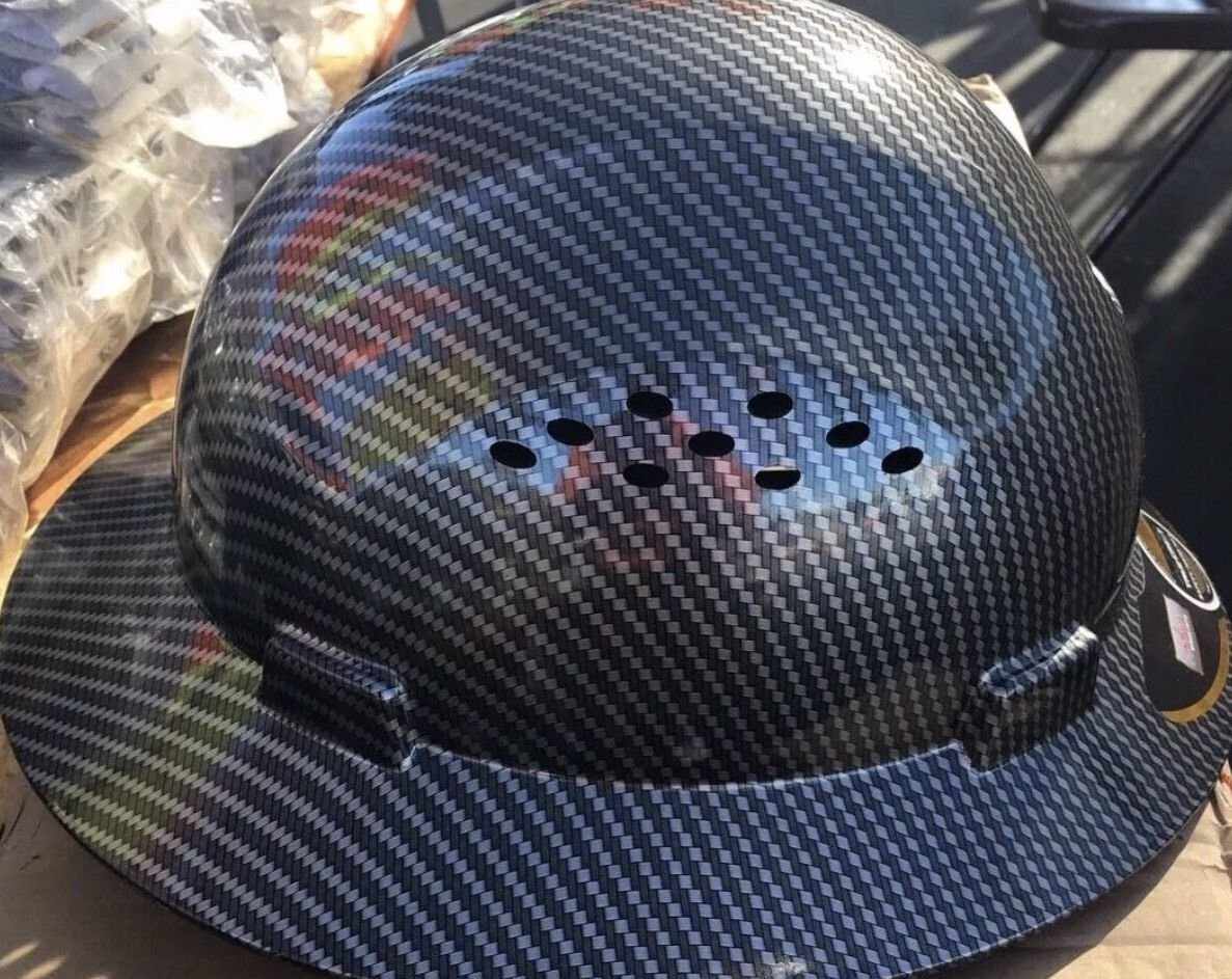 HDPE Hydro Dipped Black Full Brim Hard Hat with Fas-trac Suspension by True (Image #3)