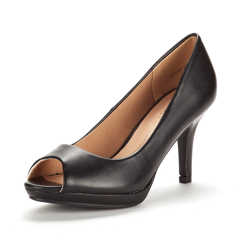 DREAM PAIRS Women's City_OT Black PU Fashion Stilettos Peep Toe Pumps Heels Shoes Size 9.5 B(M) US