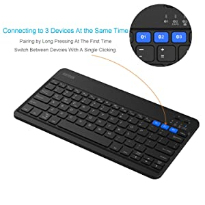 Arteck Universal Backlit 7-Colors & Adjustable Brightness Multi-Device Light Slim Portable Wireless Bluetooth 3.0 Keyboard for iOS, Android, Windows Tablet PC Smartphone Built in Rechargeable Battery (Color: Black)