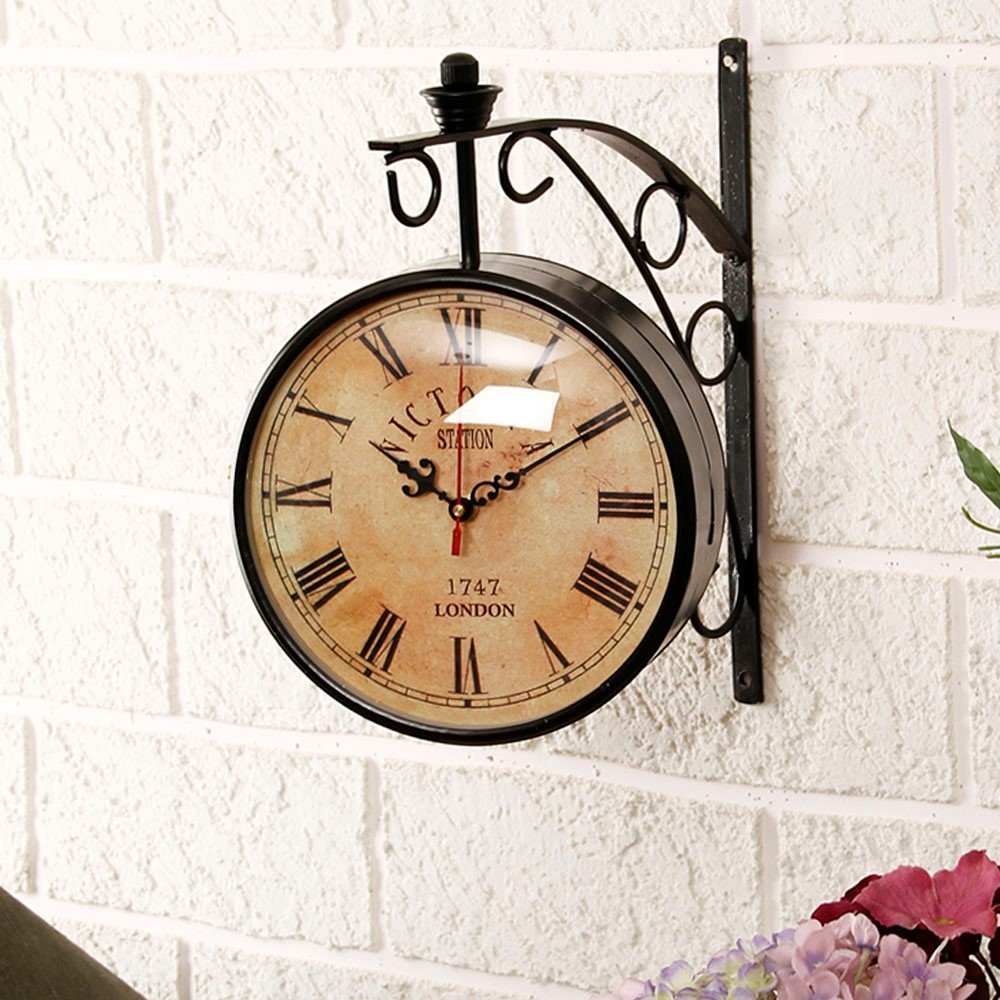 vhictoriya12 inch Dial Vintage Antique Black Station Double Sided Wall Clock