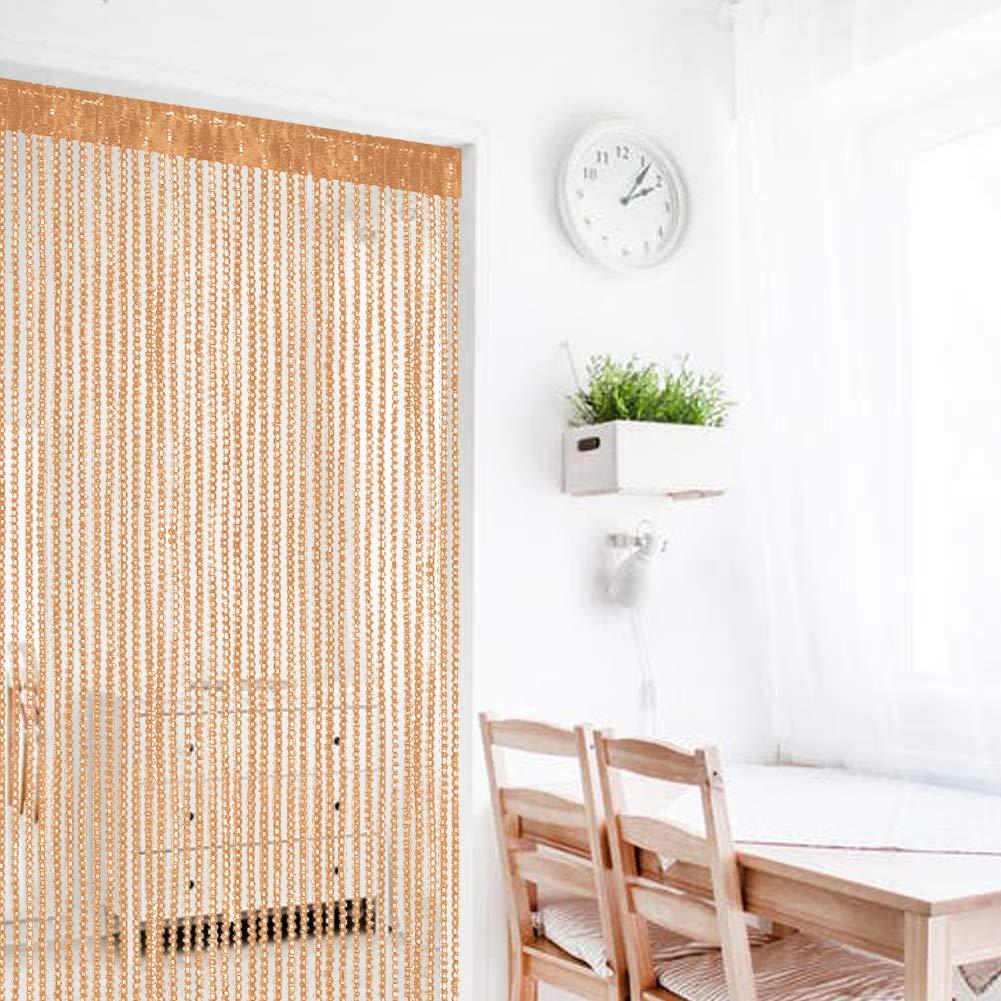 tela cortina panel 100/x 200/cm Cortina retro lisa con flecos para puerta protectora contra insectos moscas Blanco para divisor puertas o ventanas 39x78.5 mosquitero