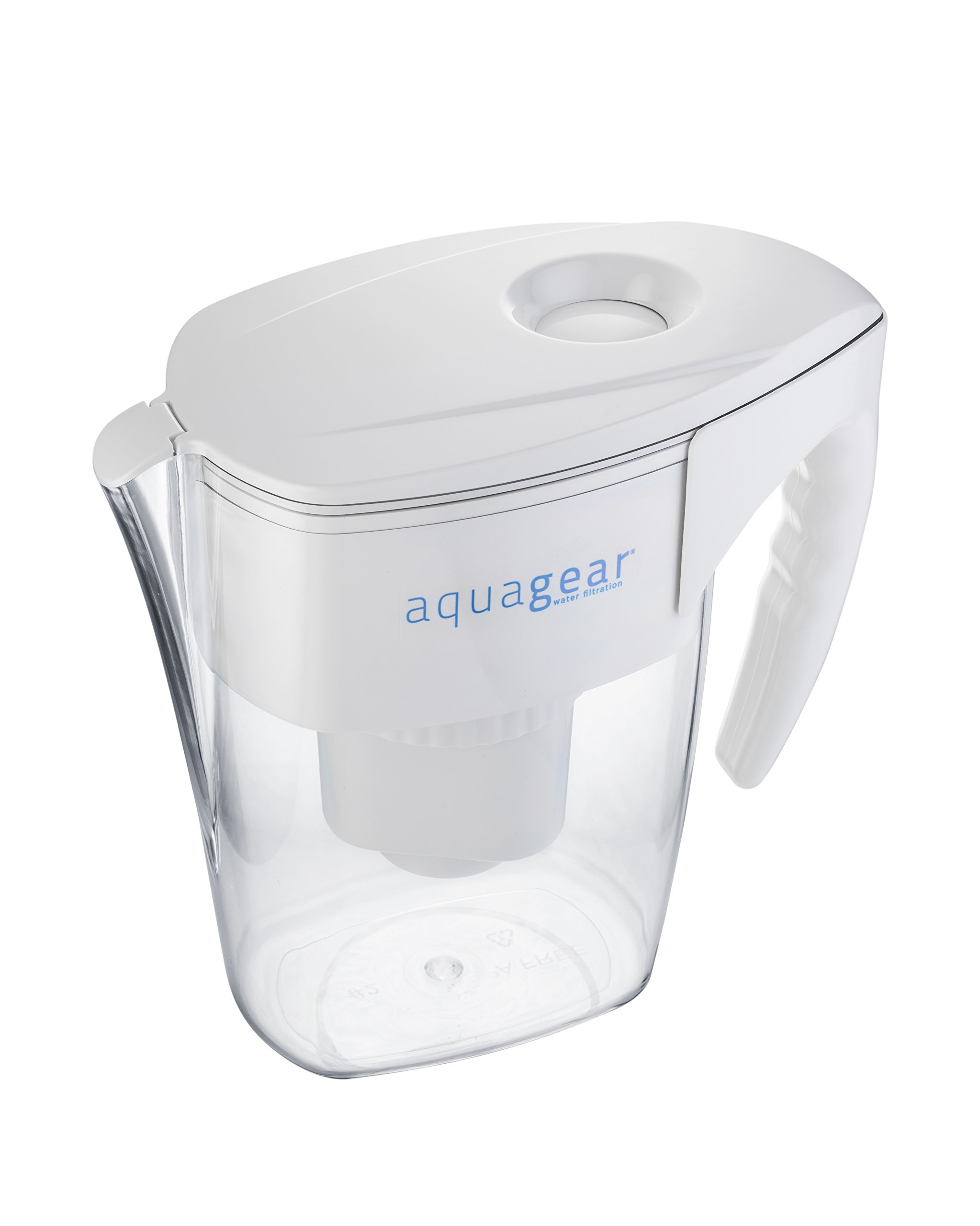 Aquagear Water Filter Pitcher - Fluoride, Lead, Chloramine, Chromium-6 Filter - BPA-Free, Clear by Aquagear (Image #2)