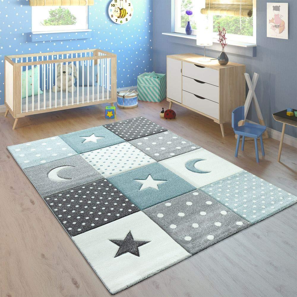 Paco Home Kinderteppich Pastellfarben Kariert Punkte Herzen Sterne Weiß Grau Blau, Grösse 200x290 cm