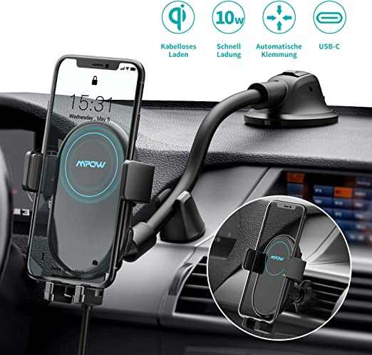 Mpow Wireless Car Charger Mount, 10W7.5W Qi Fast Charging Phone Holder for Car Air Vent and Dashboard, Compatible with iPhone 1111 Pro11 Pro MaxXs