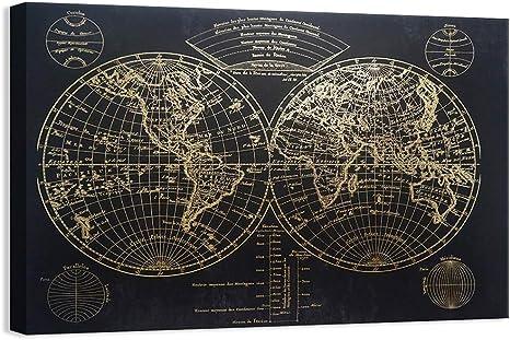 Antique Map I Black Framed Wall Art Print Home Decor