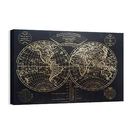 Gold Foil World Map Framed.Amazon Com Kas Home Modern Art Vintage Gold Foil World Map
