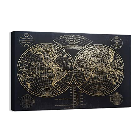 Kas Home Modern Art – Vintage Gold Foil World Map – Black Canvas Prints Large Framed Wall Art Wall Paintings for Living Room Office Wall Decor 32 x 48 Inch, A Framed