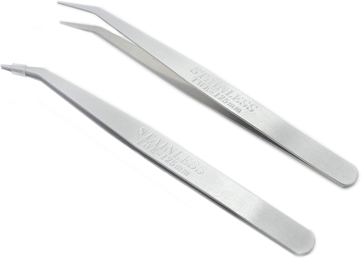 Rolson No7 Tweezers Curved Fine Points Stainless Steel Non Magnetic