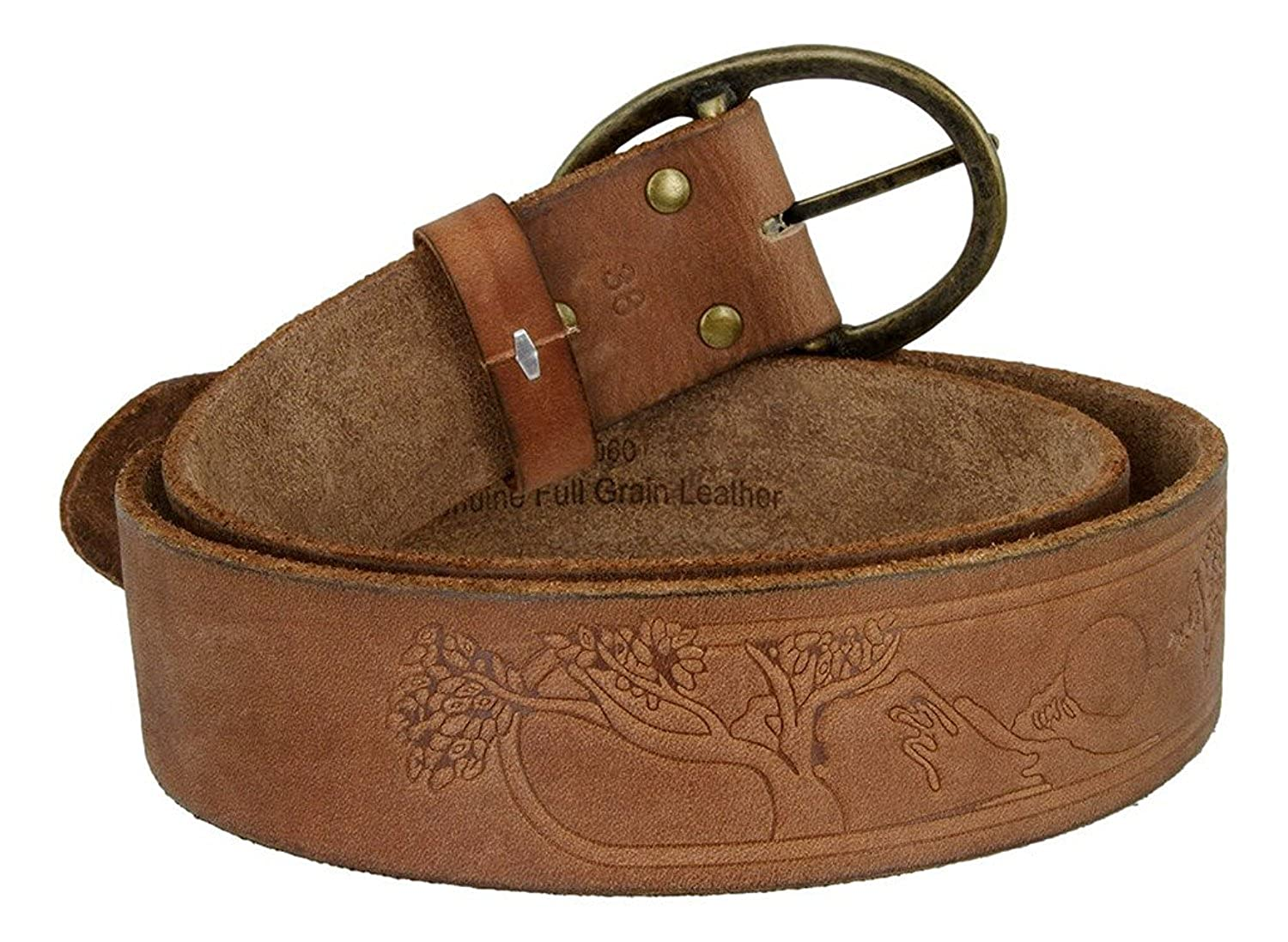 Hagora Mens Real Full Grain Leather Mythologic Tree Etched 1.75 Wide Snap Belt