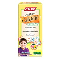 CATALO - Children's Liquid Calcium (with Magnesium, Zinc, Vitamin D3 & C), Highly absorbable Multi-Minerals, Boost Immunity, Support Bone and Teeth Structure, Peach and Mango Flavor, 16 Fl Oz