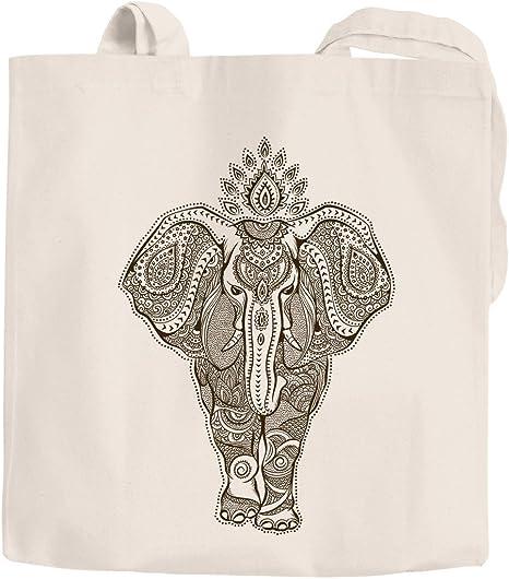 Yute bolsa Mandala Elefante zentangle Mandala Funda de algodón bolsa de la compra Autiga®, Zentangle Elefant Natur, 2 lange Henkel: Amazon.es: Hogar