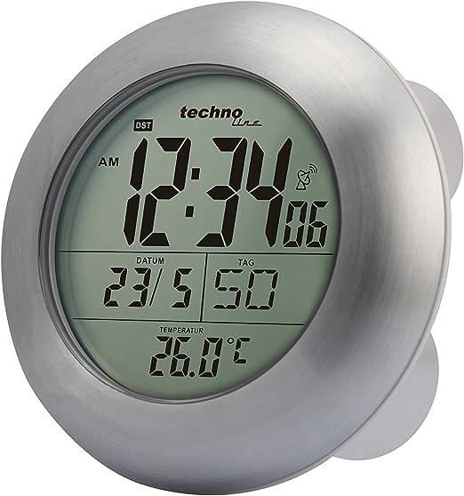 Technoline Wt 3000 Funk Wanduhr Badezimmeruhr Silber O 17 2 X 5 4 Cm Silber Mit Batterie Amazon De Kuche Haushalt
