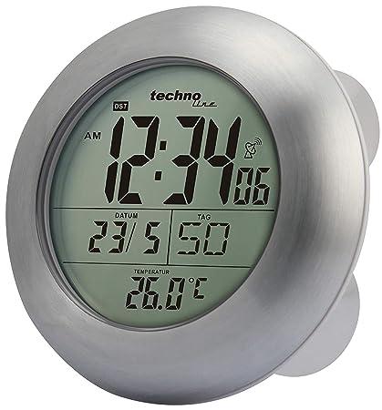 Technoline WT 3000 Reloj para baño radio-controlado (plata con batería)