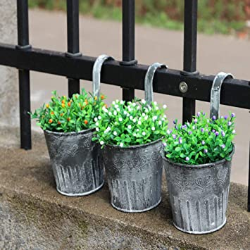 Vintage Home Decor Iron Flower Plant Pots Window Fence Hanging Watering Bucket
