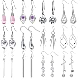Jewdreamer 12 Pairs Classic Silver Plated Dangle Drop Earrings for Women Simple Long Thread Fashion Line Christmas Earrings S