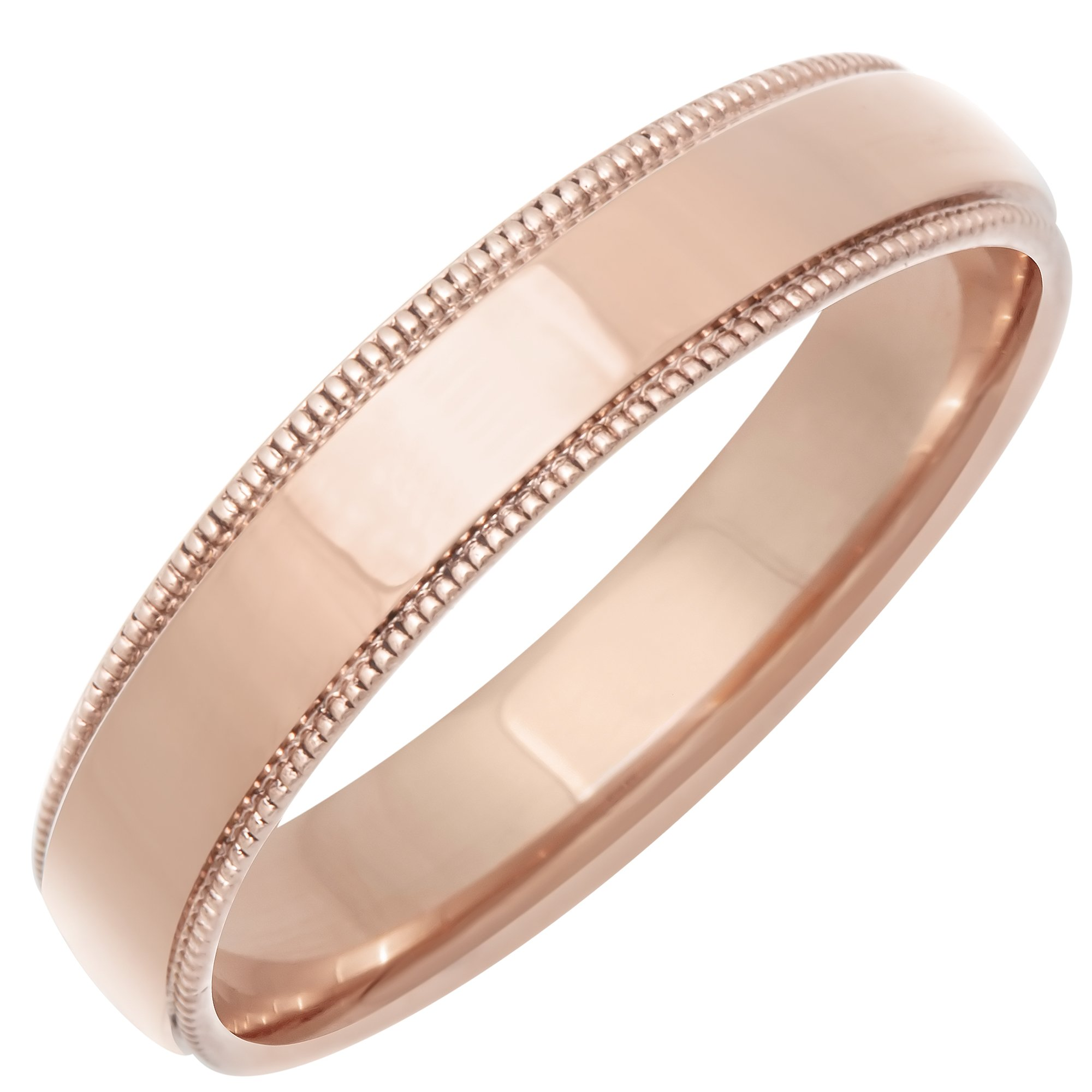 14K Rose Gold Traditional Milgrain Edge Women's Comfort Fit Wedding Band (4mm) Size-7c1 by Wedding Rings Depot