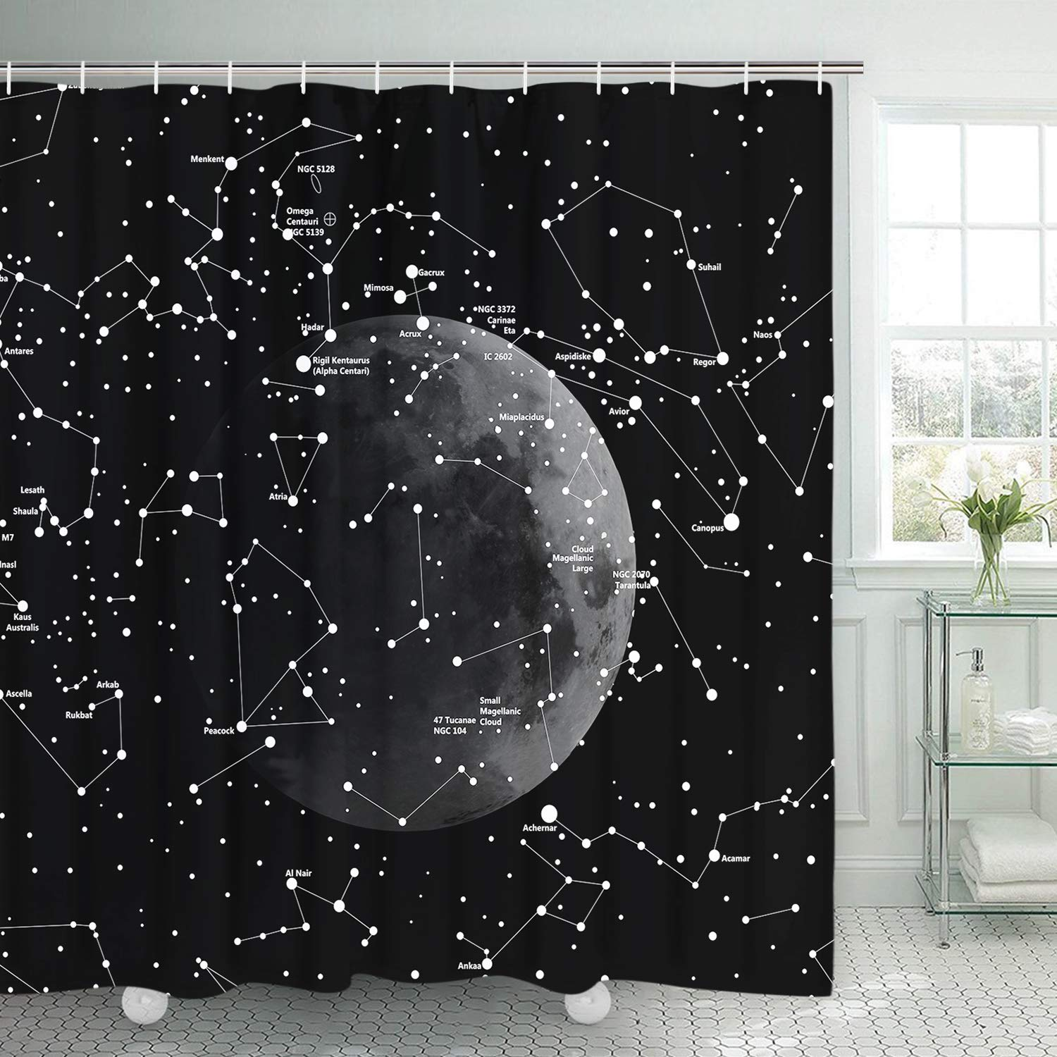 Smurfs Yingda Moon Constellation Shower Curtain With 12 Hooks Black And White Astronomy Durable Waterproof Mildew Resistant Bath For