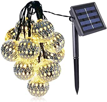 Konesky Cuerda Luces, 10 LED Jardín Funciona Energía Solar Bola Marroquí Luz Hadas Impermeable Bola Metal Decoración Interiores Patio al Aire Libre Césped Jardín Fiesta Boda Luces de Navidad: Amazon.es: Iluminación