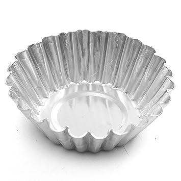 TOOGOO 10pzs Tazas para hornear Molde de huevo de papel de aluminio Caja de pastel en taza mollete tarta Plata 7.5cm: Amazon.es: Hogar