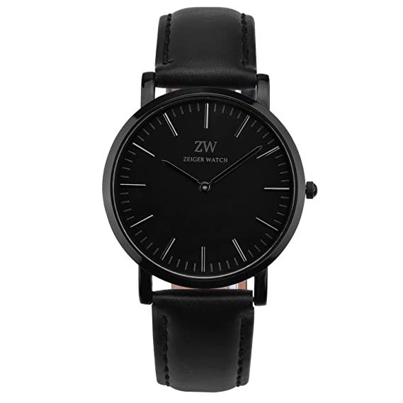 fbfd451ade53 Zeiger New Mens Women Fashion Casual Business Black Dial Analog Quartz Watch  with Leather Band (