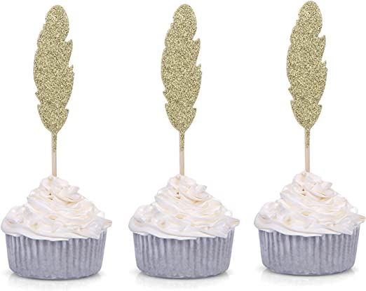 30pcs Glitter Feather Cupcake Picks Cake Toppers Party Baby Shower Decor