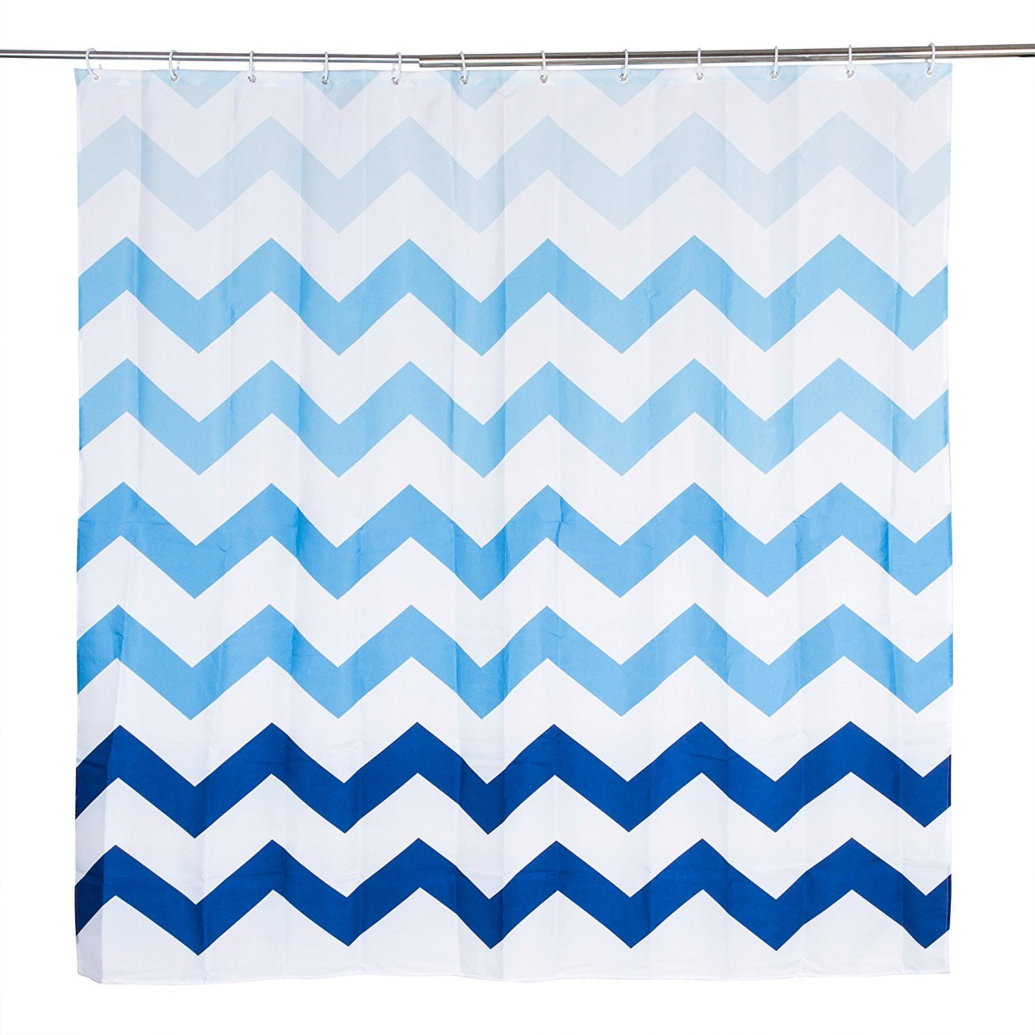 Oceanique Shower Curtain 100% Polyester, Machine Washable, for Everyday Use, Kids, Teens, Extra Bathroom, Main Bathroom Ombre Chevron