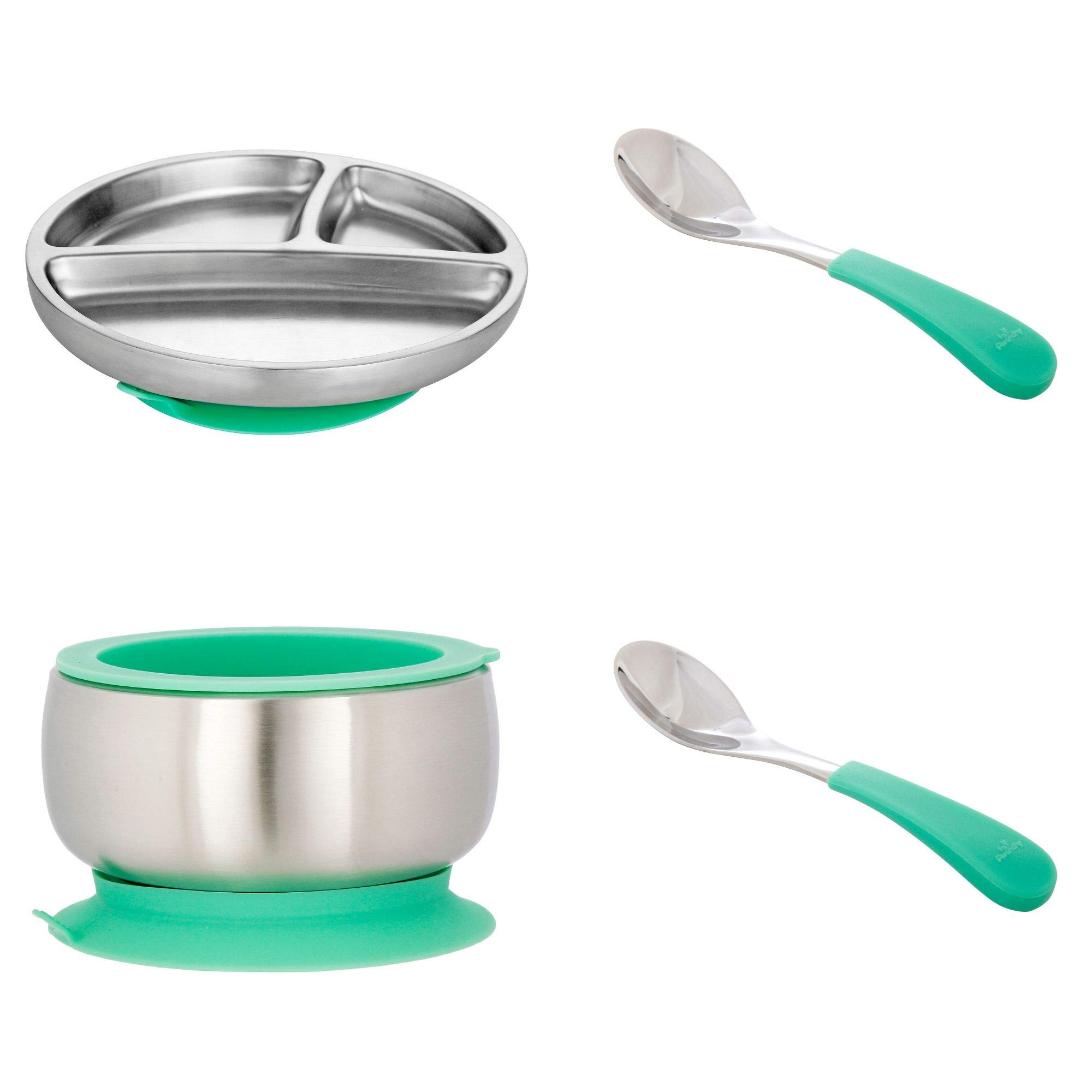 Avanchy Stainless Steel Toddler Feeding Divided Plate, Bowl & Spoons + Silicone Suction, Infant, Kid or Child Plates. 18/8, BPA Free, BPS Free, Lead Free and Phthalate Free. (Green Gift Set) by Avanchy
