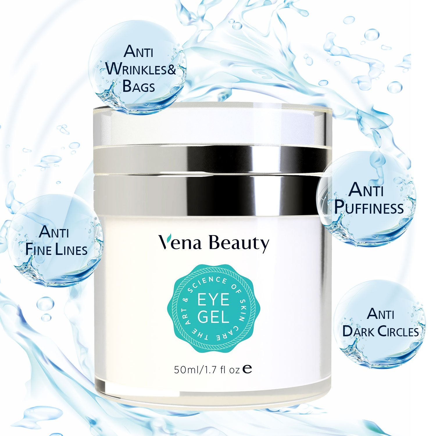 Eye Gel for Dark Circles, Puffiness, Wrinkles and Bags,Fine Lines. - The Most Effective Anti-Aging Eye Gel for Under and Around Eyes - 50 ML