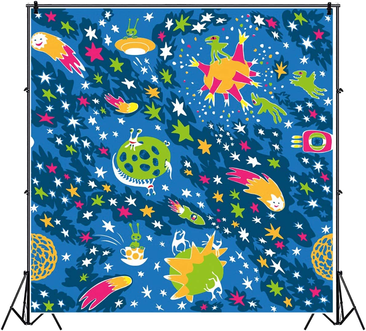 YEELE 6.5x6.5ft Funny Dark Space Pattern Photography Backdrop Kids Birthday Party Background Space Ship Theme Baby Shower Room Decoration Baby Toddler Boys Artistic Portrait Photo Booth Props