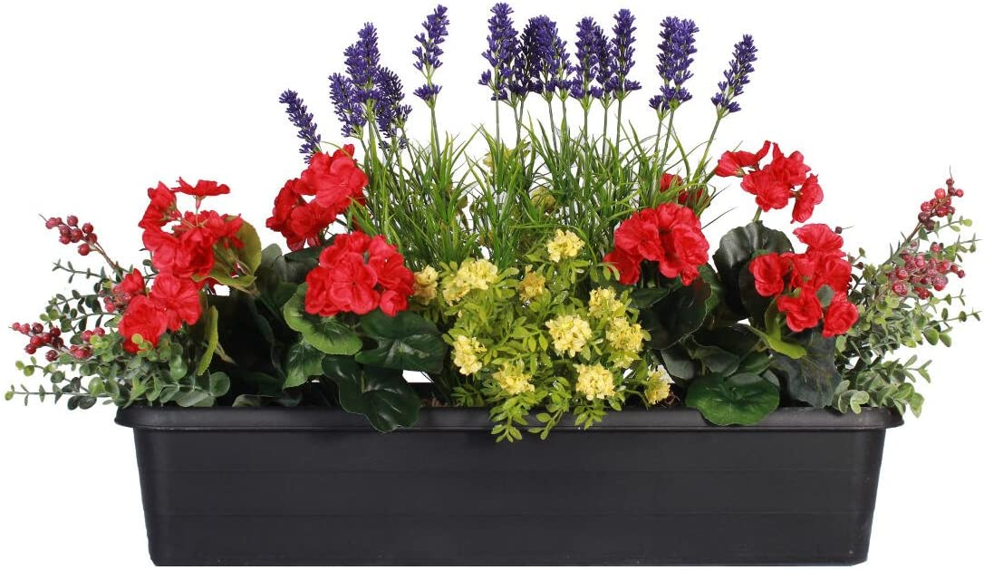 Blooming Artificial Red Yellow Summer Garden Artificial Window Box Trough Arrangement With Faux Geraniums Lavender Berries And Foliage Outdoor Use Vibrant Realistic And Colourful Red Amazon Co Uk Garden Outdoors