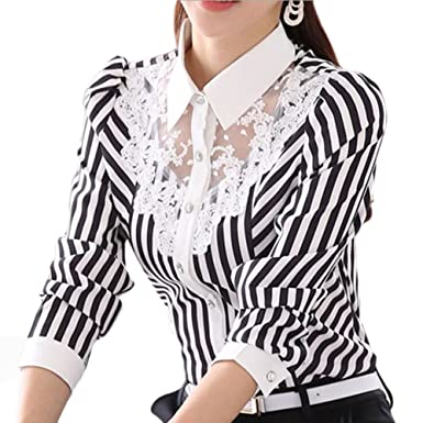 35fa3d06e5d Image Unavailable. Image not available for. Color  EFINNY Women Floral Lace Long  Sleeve Striped Shirts OL Workwear V Neck Blouses Tops Plus Size