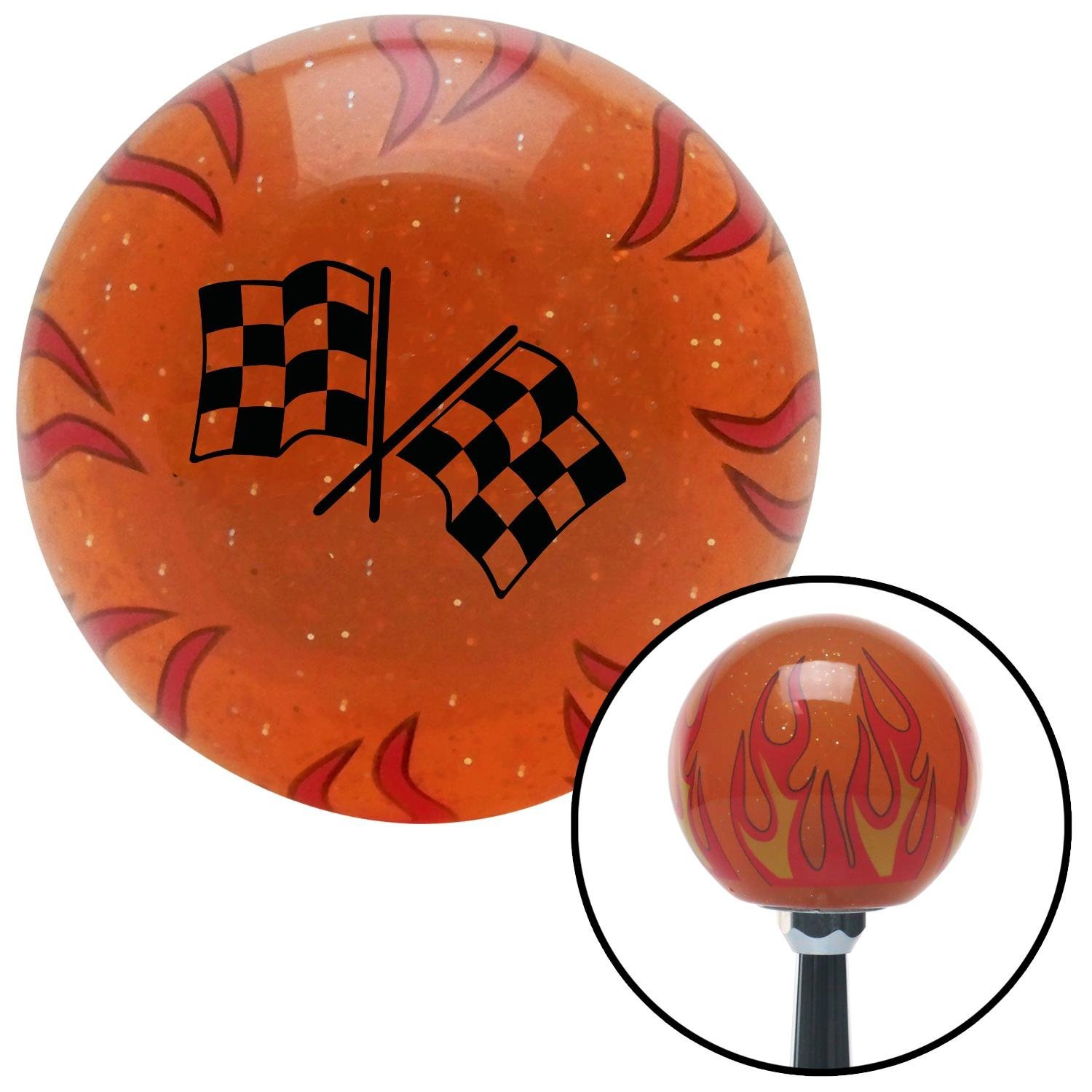 American Shifter 255076 Orange Flame Metal Flake Shift Knob with M16 x 1.5 Insert Black Checkered Flags