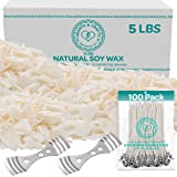 """Hearts and Crafts Soy Candle Wax and Wicks for Candle Making, All-Natural - 5lb Bag with 100ct 6"""" Pre-Waxed Candle Wicks…"""