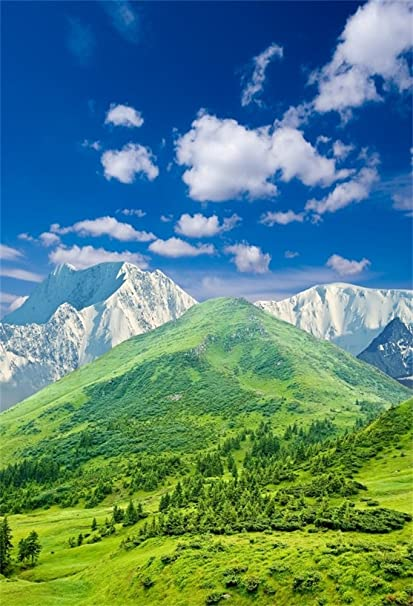 Laeacco Vinyl 5x7FT Photography Background Nature Landscape High Mountain  Snow Covered And Green Hills Valley Fresh