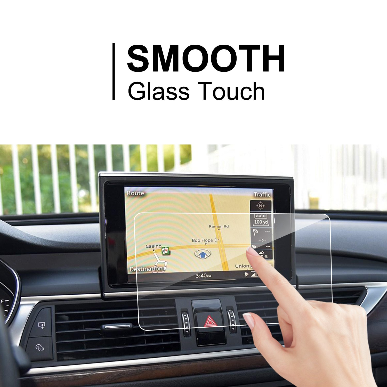 Clear Tempered Glass In-Dash Center Touch Screen Protector Anti Scratch High Clarity LiFan 9H LFOTPP Audi A6 A7 S7 S8 2012-2018 Car Navigation Screen Protector,