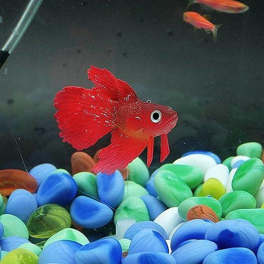 UEETEK Artificial de silicona suave brillante efecto Betta acuario ...