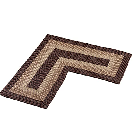 Attirant Collections Etc L Shaped Corner Kitchen Laundry Bath Braided Rug, Chocolate
