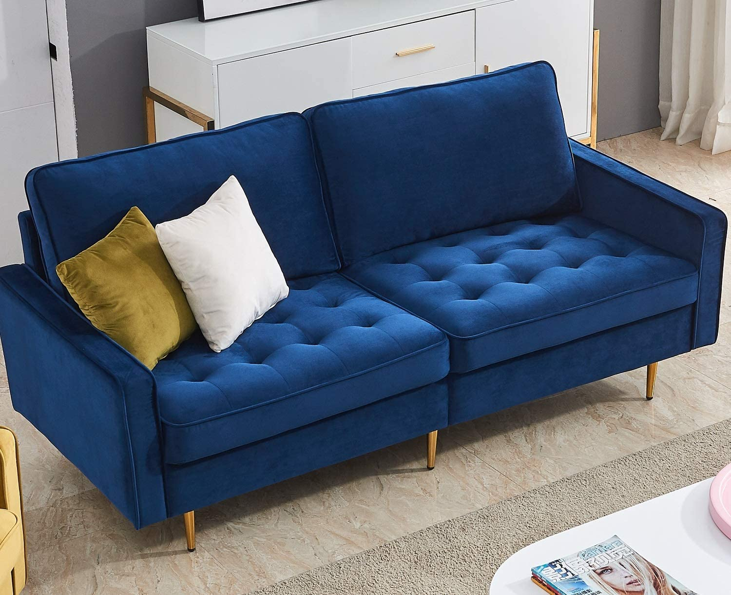 Danxee Velvet Fabric Sofa Couch 71 Wide Mid Century Modern Tufted Fabric Sofa Living Room Sofa 700lb Heavy Duty With 2 Pillows Blue Kitchen Dining