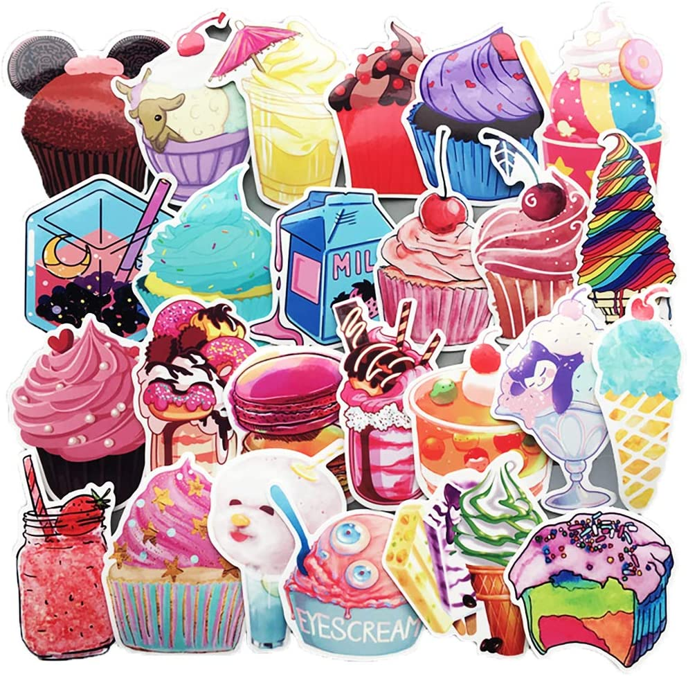 Honch Summer Sweets Dessert Ice Cream Stickers Pack 70 Pcs Suitcase Stickers Vinyl Decals for Laptops Bumper Ipad Helmet Track Cars Luggage Water Bottle