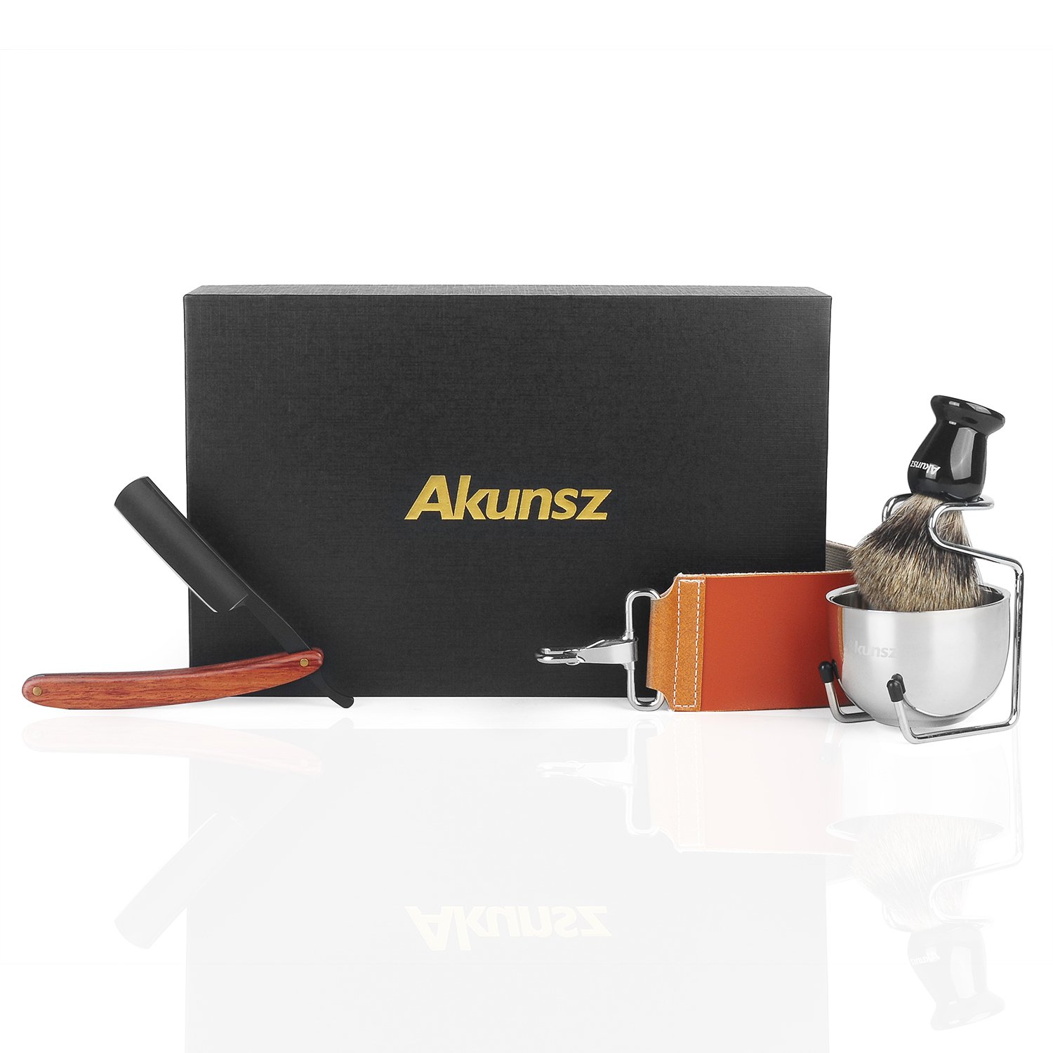 Straight Razor Kit AKUNSZ Black Shaving Kit for Men Straight Edge Razor with Shave Brush and Bowl - Leather Strop, Pure Badger Shaving Brush, Shave Bowl, Shaving Stand - 5 PCS Shave Kit