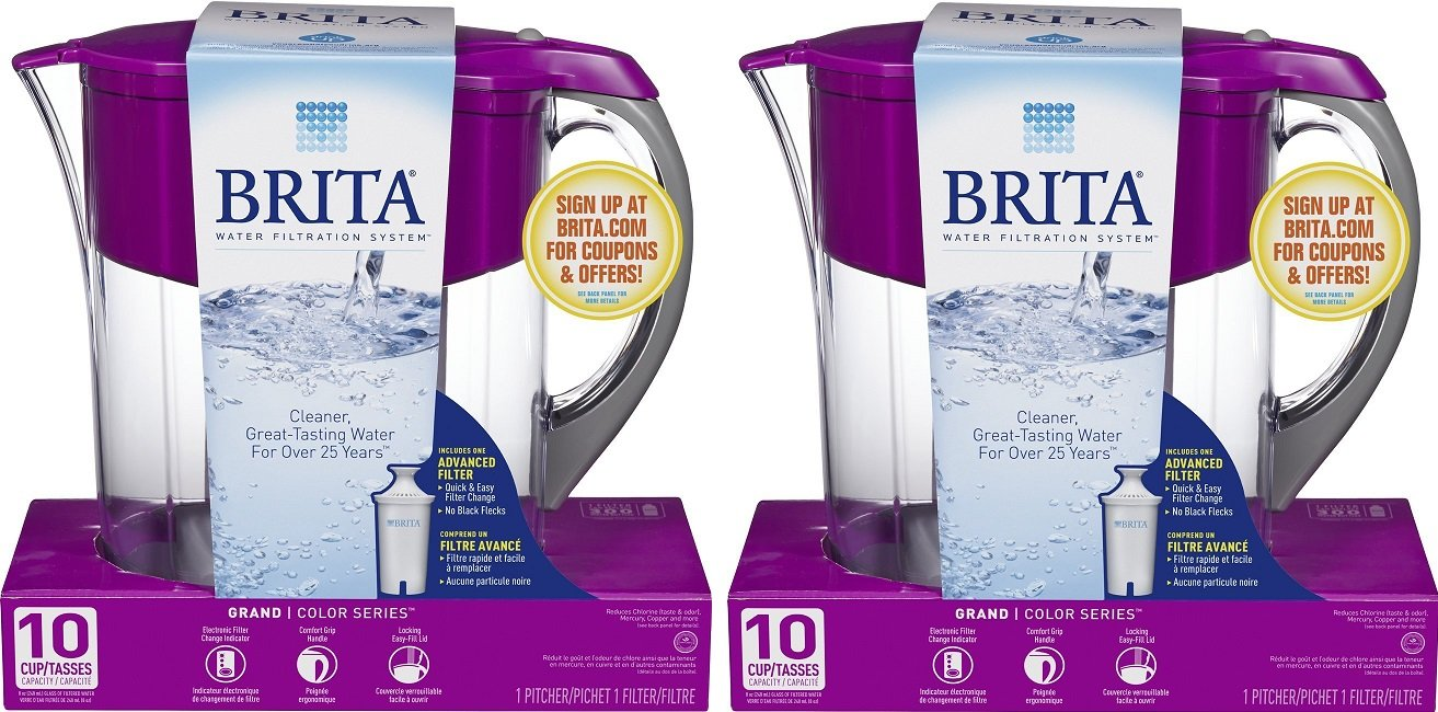 Brita Large 10 Cup Grand Water Pitcher with Filter - BPA Free - Violet (Pack of 2)