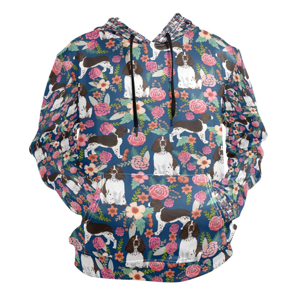 Medium Charlley Lee Men's Hooded Sweatshirt English Springer Spaniel and Retro Floral Fashion Hoodie