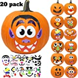 JOYIN 20 Assorted Pieces Pumpkin Decorating Craft Kit Stickers in 12 Designs Halloween Party Supplies Trick or Treat Party Fa