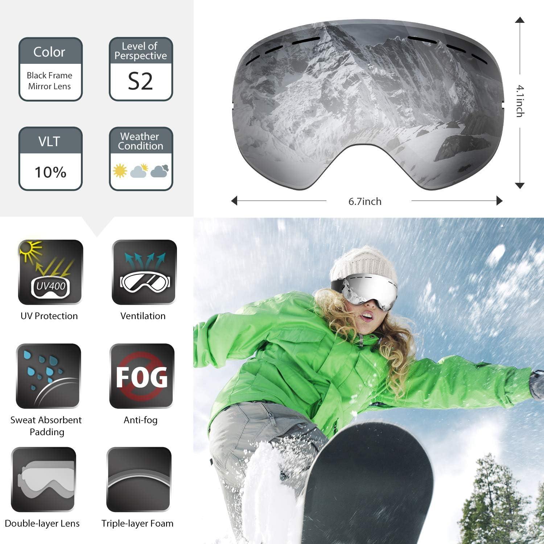 Skifahren oder Skaten 2020 NEW Frauen und Jugendliche Snowboardbrille mit austauschbarer Skibrille mit Beschlag- und UV-Schutz f/ür Schneemobil- f/ür Wintersportarten f/ür M/änner sph/ärischer Dual-Linse