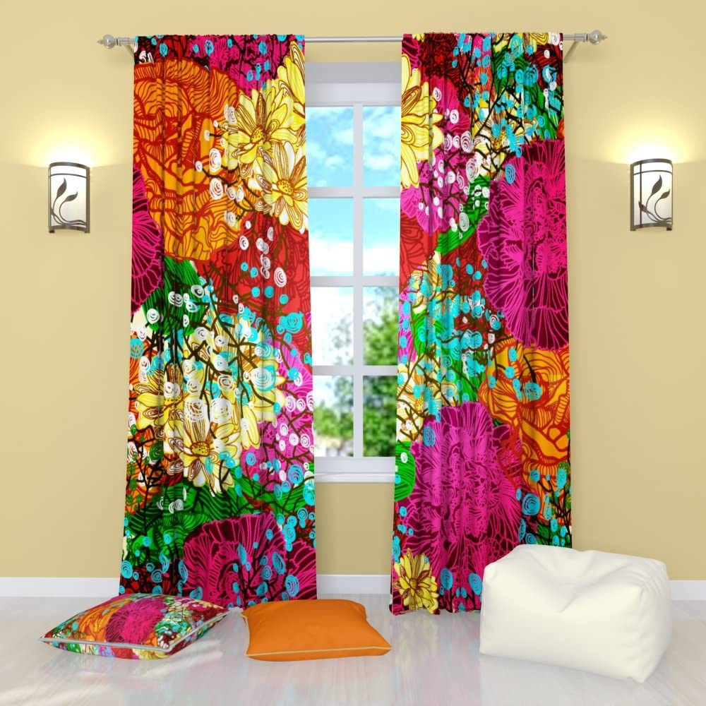 Factory4me Colorful Curtains Tropical Print , Yellow Orange Red Pink Green Floral Curtains 84 Inch Length , Unique Rod Pocket Room Darkening Window Panels
