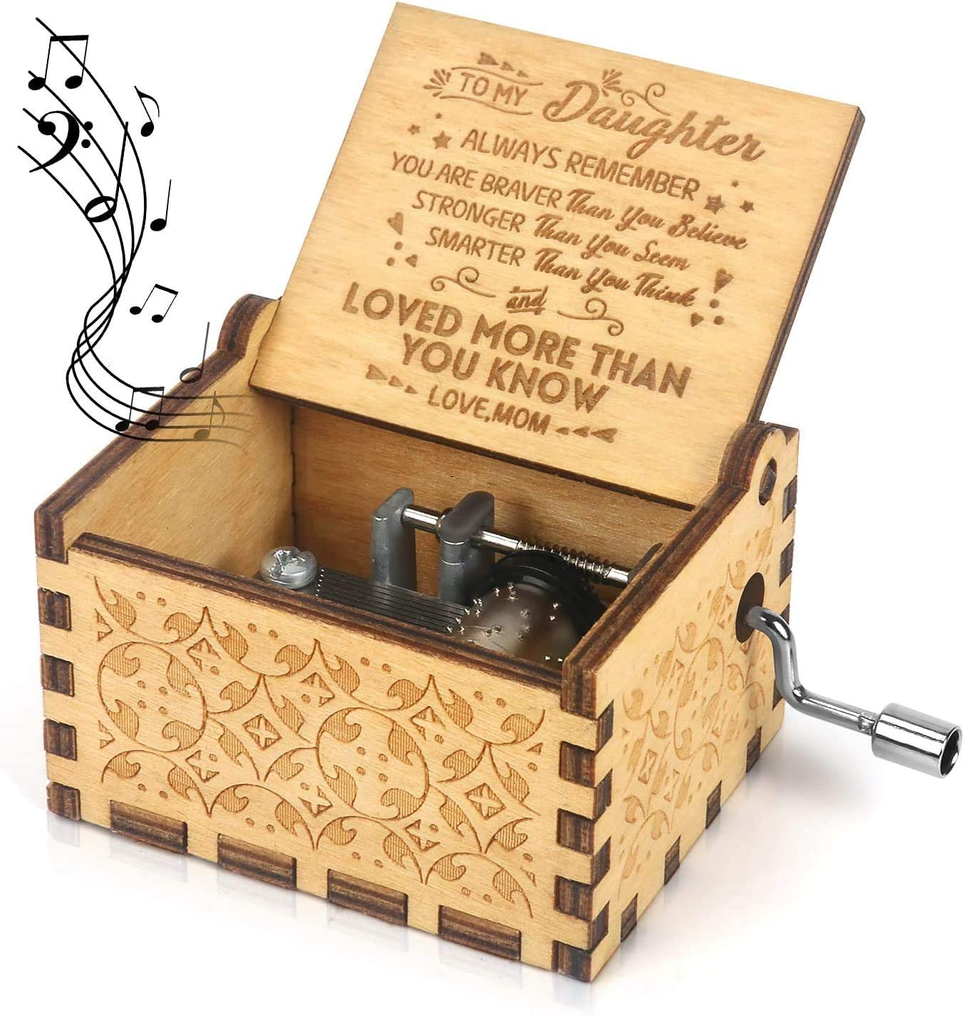 Wooden Engraved Music Box Hand Crank Godfather Happy Gifts Birthday NEW M2G6