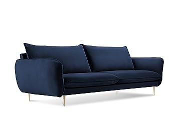 Cosmopolitan Design Canape Velours Florence 4 Places Bleu