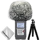 First2savvv Bonnette anti-vent Furry à l'extérieur pour enregistreurs numériques portables pour Zoom H4n Pro . H4n pro+ + Trépied + chiffon de nettoyage TM-DM-H4NPro-A01TZ3