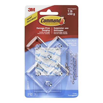 Command Clear Jewelry Rack 1 lb Capacity 2 Hooks 3 Medium Strips
